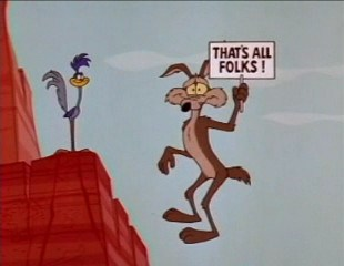 Roadrunner and Wile E Coyote at the edge of a cliff